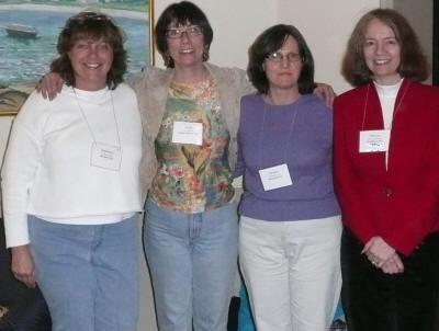 My current writers' group at a SCBWI conference years ago . Many books later, we're still meeting and sharing our stories.