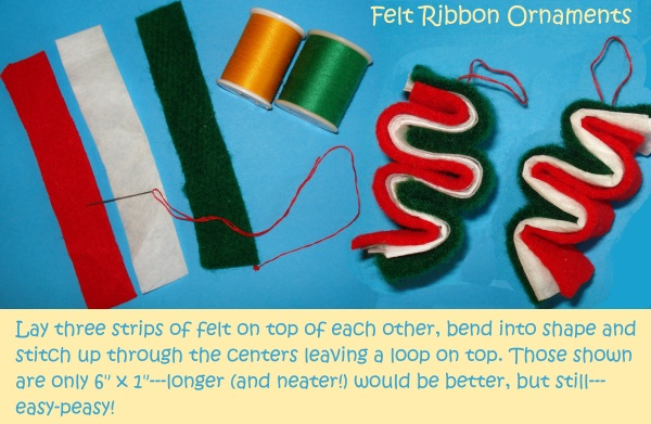 ribbon felt ornaments