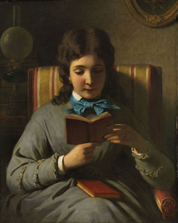 XX Anton_Ebert_Lesendes_Mädchen c. 1895