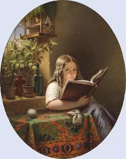 XX Eduard_Klieber_(Kopie_nach_Meyer_von_Bremen)_Lesendes_Mädchen_1855