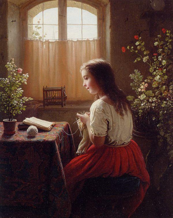 XX Meyer_von_Bremen_Strickendes_lesendes_Mädchen_1863